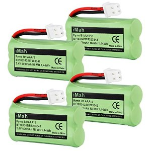 4-Pack iMah Ryme B1 Rechargeable Cordless Phone Battery for BT183342 BT283342 BT166342 BT266342 BT162342 BT262342 2SN-AAA40H-S-X2 2SN-AAA65H-S-X2 VTech CS6114 CS6124 CS6419-2 CS6429 DECT 6.0 Home Handset Telephone